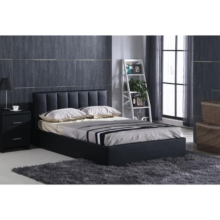 anastacia lit adulte en simili 160x200cm sommier inclus noir achat vente structure de. Black Bedroom Furniture Sets. Home Design Ideas
