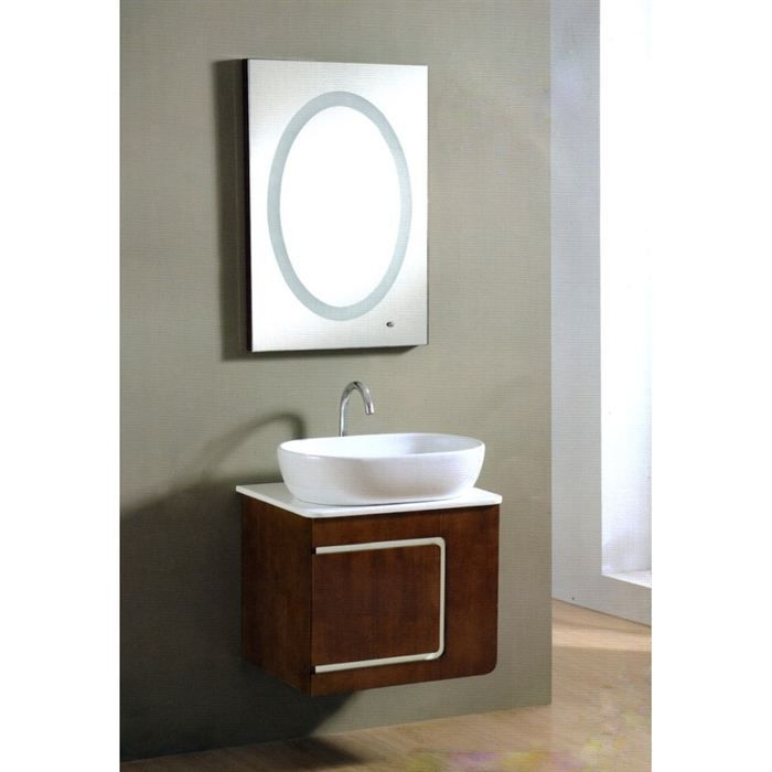 meuble de salle de bain bois riva avec mirroir led achat. Black Bedroom Furniture Sets. Home Design Ideas