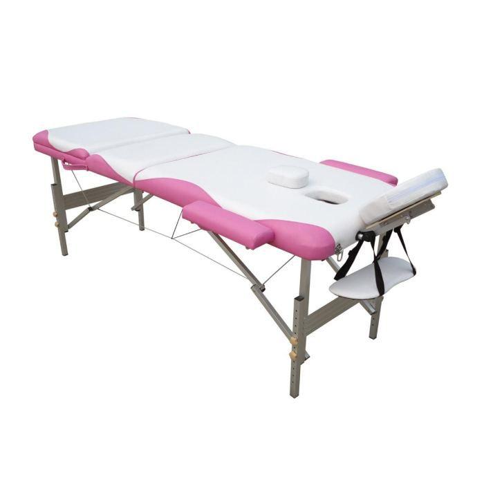 Table de massage alu rose et blanc achat vente table de massage table de - Table de massage legere ...