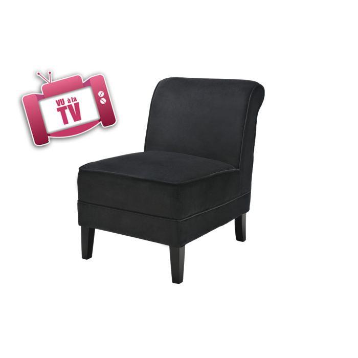 buck fauteuil en velours noir classique achat vente fauteuil noir cdiscount. Black Bedroom Furniture Sets. Home Design Ideas