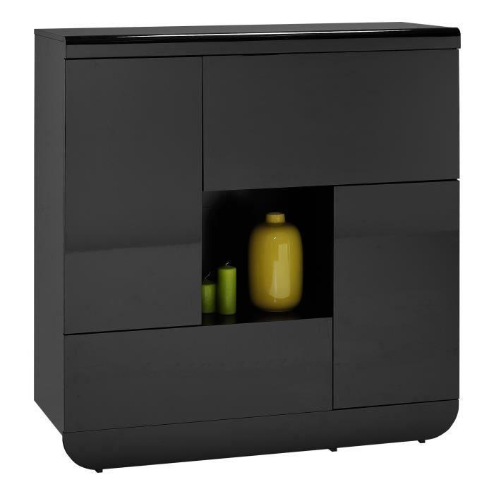 armoire de rangement noir laqu design achat vente. Black Bedroom Furniture Sets. Home Design Ideas