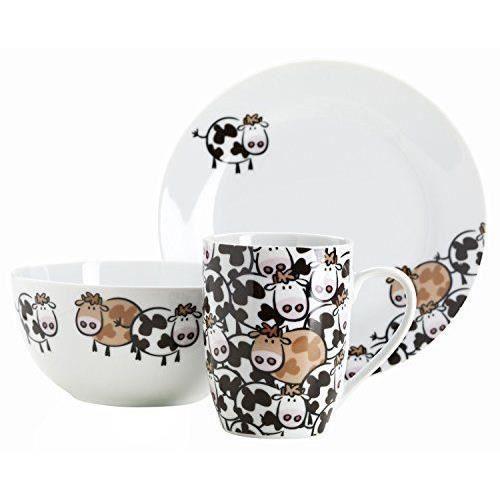 Domestic 926520 brown cow set petit d jeuner pour enfants for Set petit dejeuner porcelaine