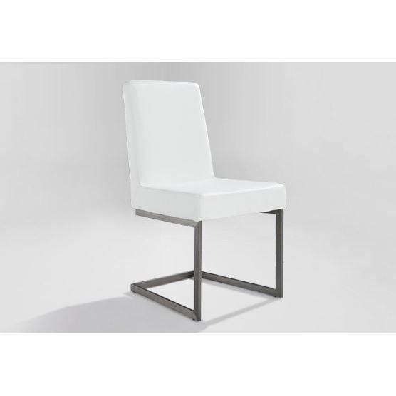 Chaise de salle a manger blanc acier inox et cuir arctic achat vente chaise acier for Chaise en acier poitiers