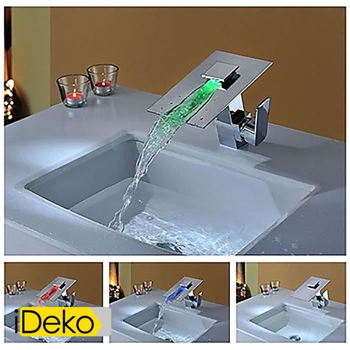 ideko robinet mitigeur lavabo led contemporaine conduit en laiton chrom cascade mitigeur. Black Bedroom Furniture Sets. Home Design Ideas