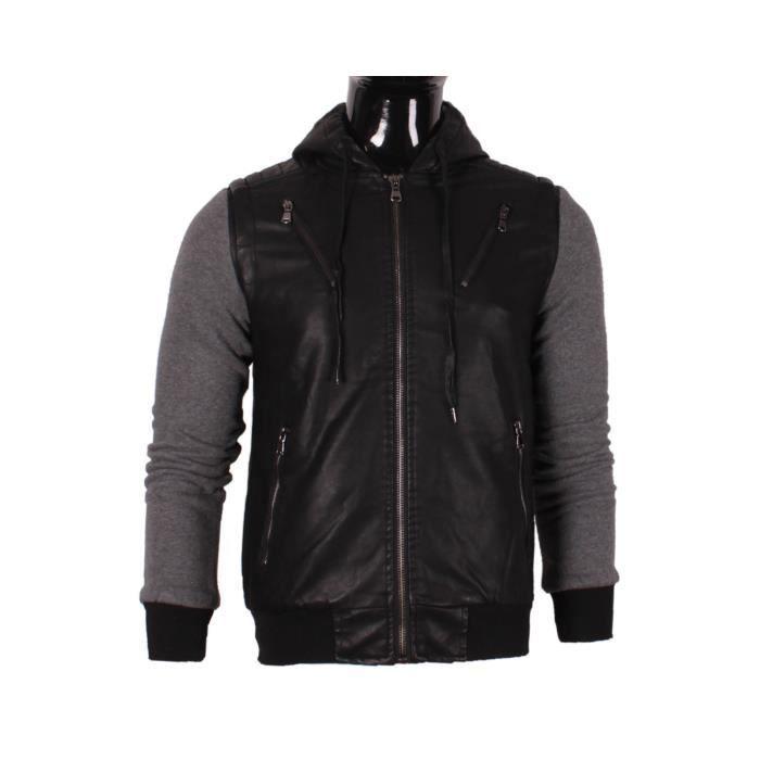Veste homme mentex simili cuir manches sweat capuche noir noir achat - Simili cuir composition ...