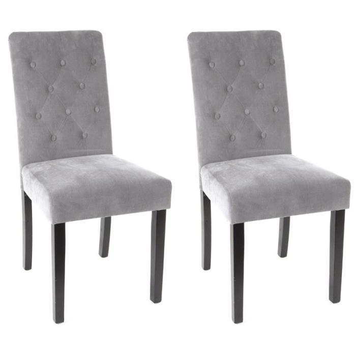 paris prix lot de 2 chaises cleva velours gris achat vente chaise gris cdiscount. Black Bedroom Furniture Sets. Home Design Ideas