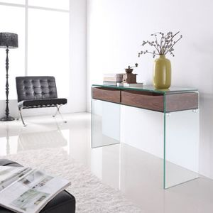 console verre trempe achat vente console verre trempe. Black Bedroom Furniture Sets. Home Design Ideas