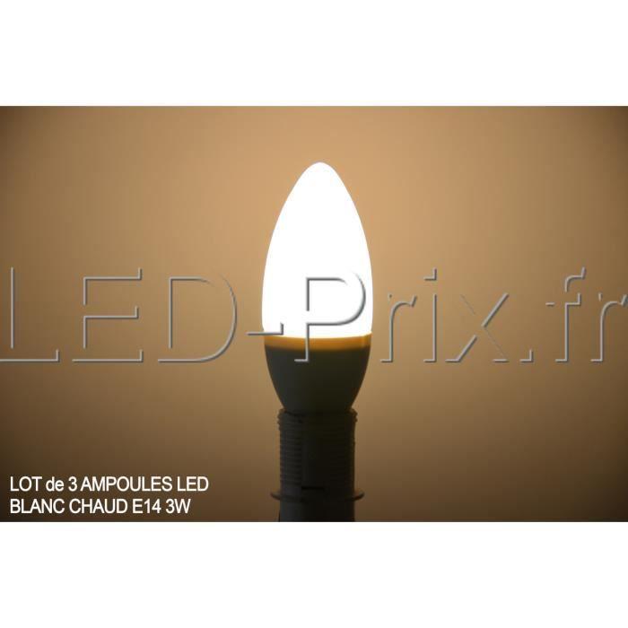 lot de 3 ampoules led blanc chaud 3w e14 achat vente ampoule led cdiscount. Black Bedroom Furniture Sets. Home Design Ideas