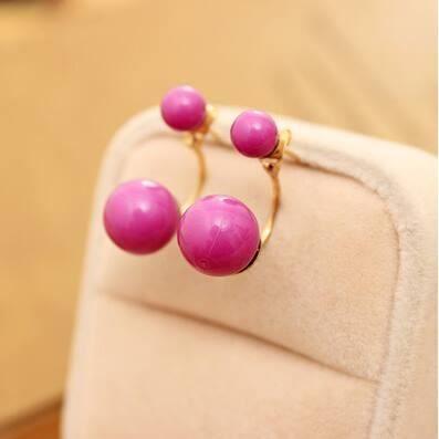 boucles d 39 oreille double perles violette achat vente boucle d 39 oreille boucles d 39 oreille. Black Bedroom Furniture Sets. Home Design Ideas