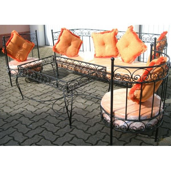 salon marocain complet orange en fer forg et v achat. Black Bedroom Furniture Sets. Home Design Ideas
