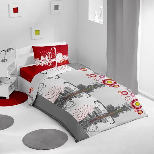 housse de couette et une taie urban rouge achat vente parure de lit cdiscount. Black Bedroom Furniture Sets. Home Design Ideas