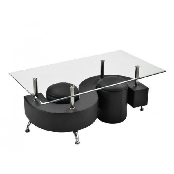 Table basse s noir 2 poufs achat vente table basse table bass - Table basse 6 poufs noir ...