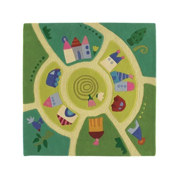 Haba tapis enfants monde du jeu vert 140x140 cm achat - Tapis enfant maison du monde ...