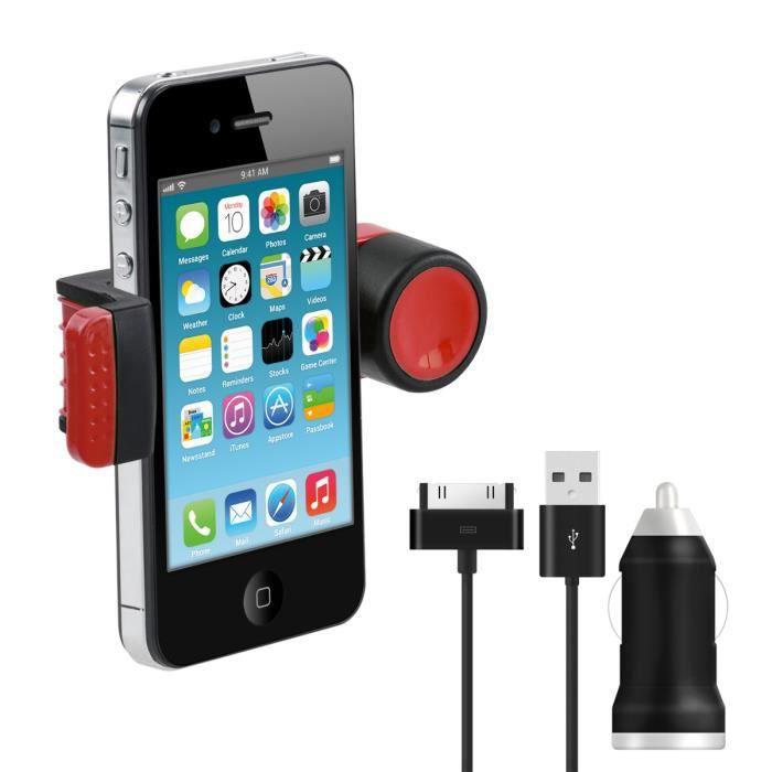 kwmobile support de voiture universel avec un bras pour apple iphone 4 4s en rouge chargeur. Black Bedroom Furniture Sets. Home Design Ideas