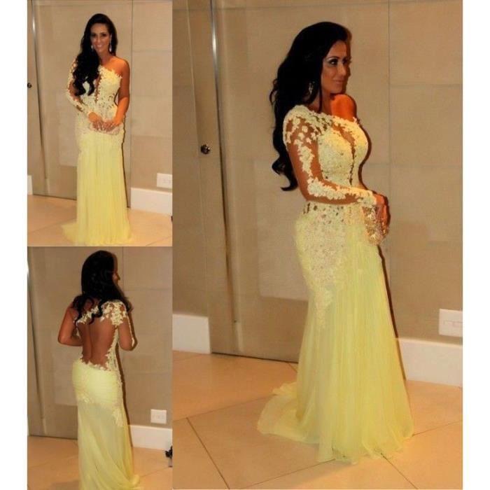 jaune robe de soirée sans dossier gaine longue robe de bal robe de ...