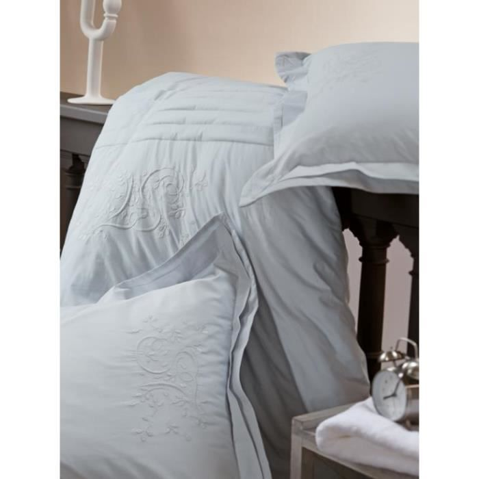 housse de couette percale brod e gris bleut 22 achat. Black Bedroom Furniture Sets. Home Design Ideas