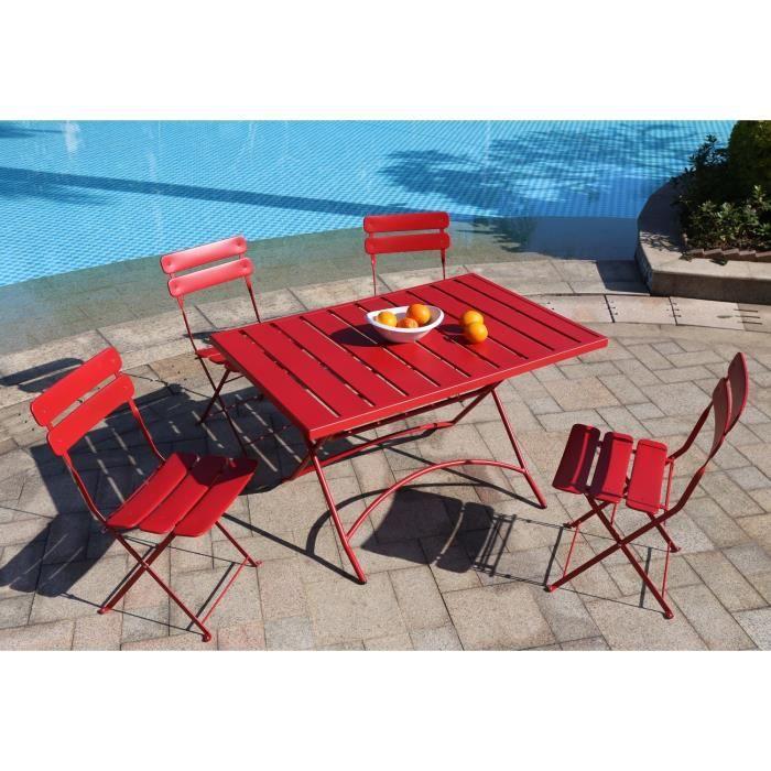 finlandek hieno ensemble table de jardin 120x80 4 chaises acier rouge achat vente salon de. Black Bedroom Furniture Sets. Home Design Ideas