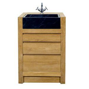 Meuble sous vasque en teck achat vente meuble sous for Meuble salle de bain teck 60 cm