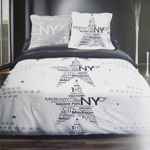 parure housse de couette new york 100 coton achat. Black Bedroom Furniture Sets. Home Design Ideas