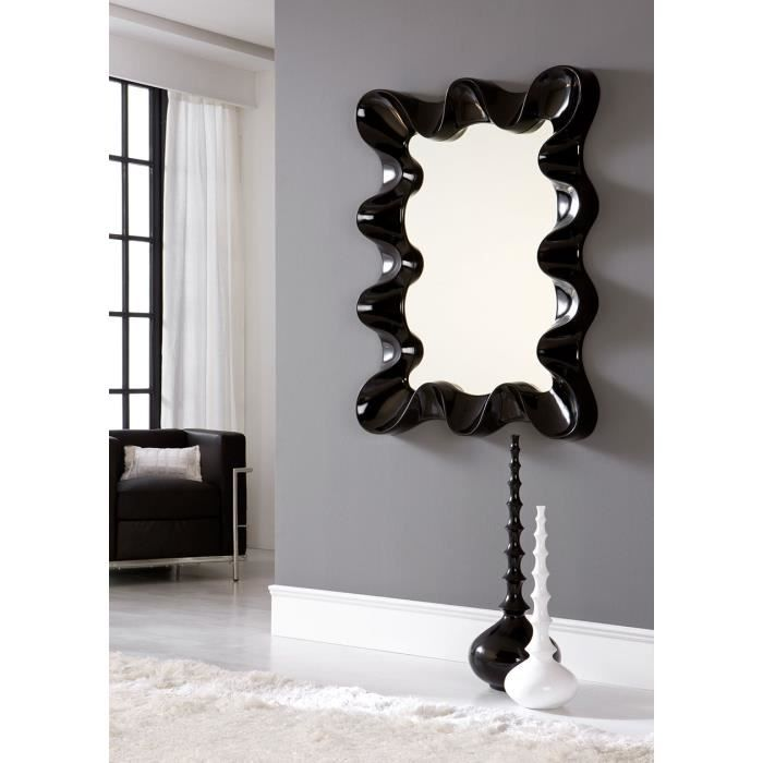 Miroir mural gris argent ou noir laqu design reggie noir for Miroir gris argent