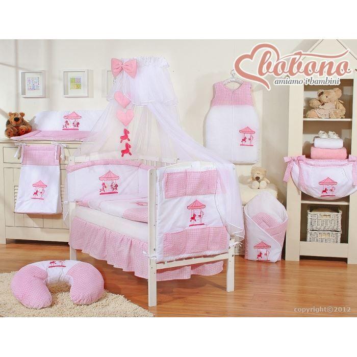 parure de lit b b carrousel rose avec ciel de achat. Black Bedroom Furniture Sets. Home Design Ideas