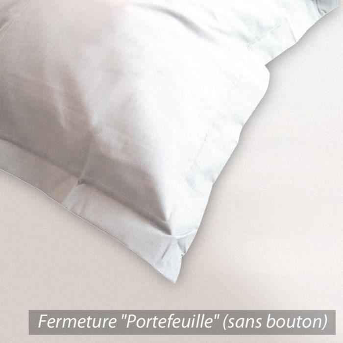 taie d 39 oreiller 80x80cm coton uni blanc achat vente taie d 39 oreiller les soldes sur. Black Bedroom Furniture Sets. Home Design Ideas
