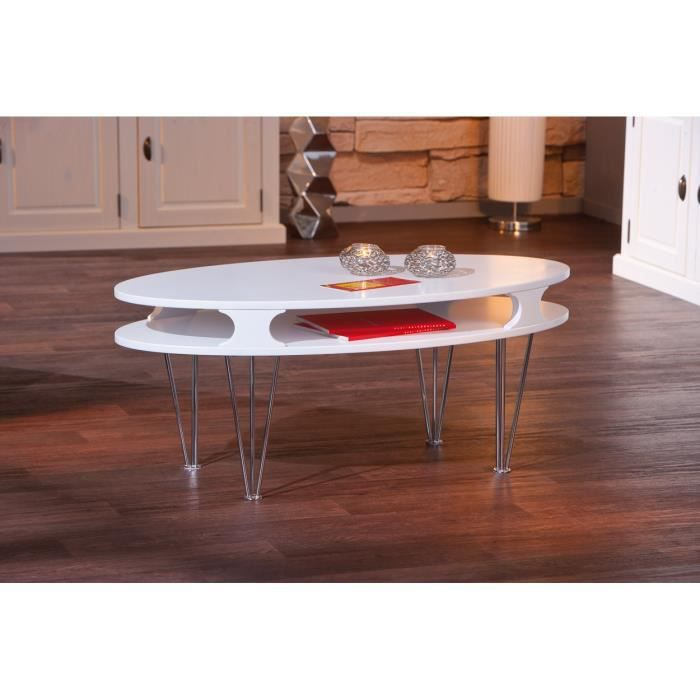 Table basse design m tal bois blanche minutio achat for Table basse design metal