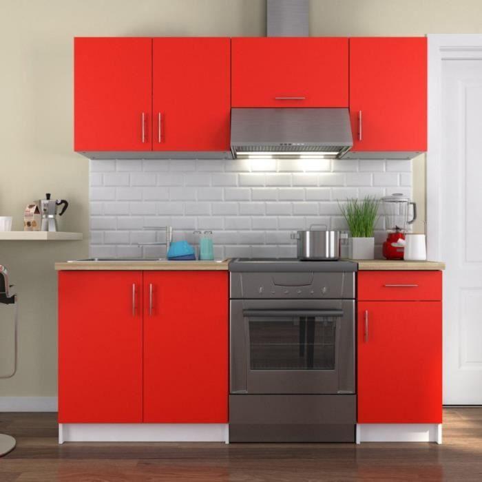 Paris prix cuisine compl te maria 180cm rouge achat for Cuisine complete rouge