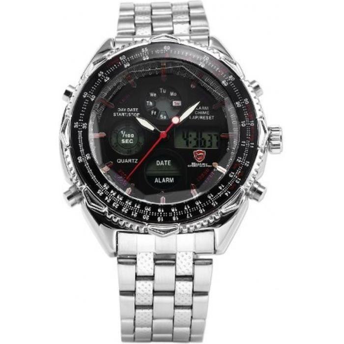 shark sh111 montre homme analogique digitale bracelet acier inoxydable achat vente montre. Black Bedroom Furniture Sets. Home Design Ideas