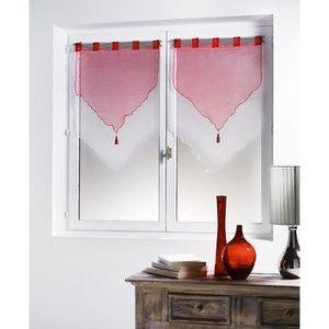 Rideaux rouge et blanc achat vente rideaux rouge et blanc pas cher cdis - Voilage organza blanc ...