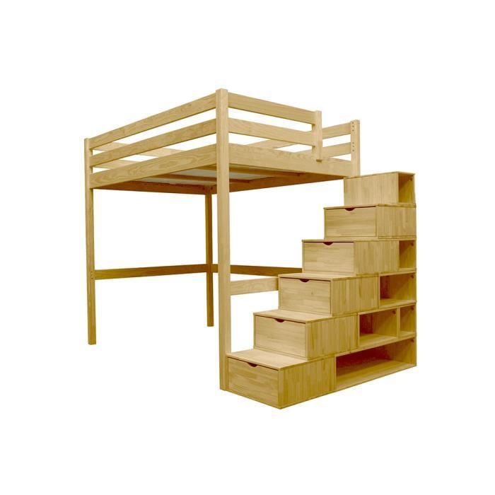 lit mezzanine sylvia avec escalier cube bois achat. Black Bedroom Furniture Sets. Home Design Ideas