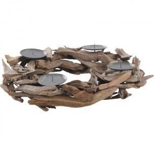 Couronne support pour bougies en bois flott achat for Couronne de noel bois flotte