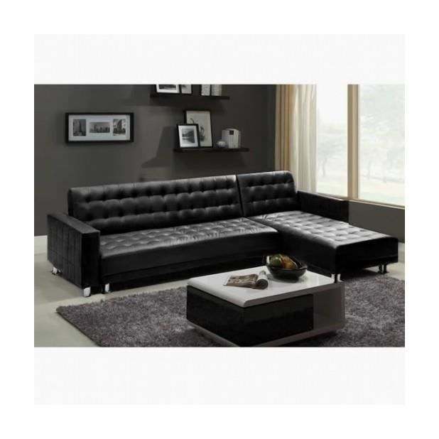 Magnifique canape d 39 angle pu cuir 5 places milky noir for Lit 5 places
