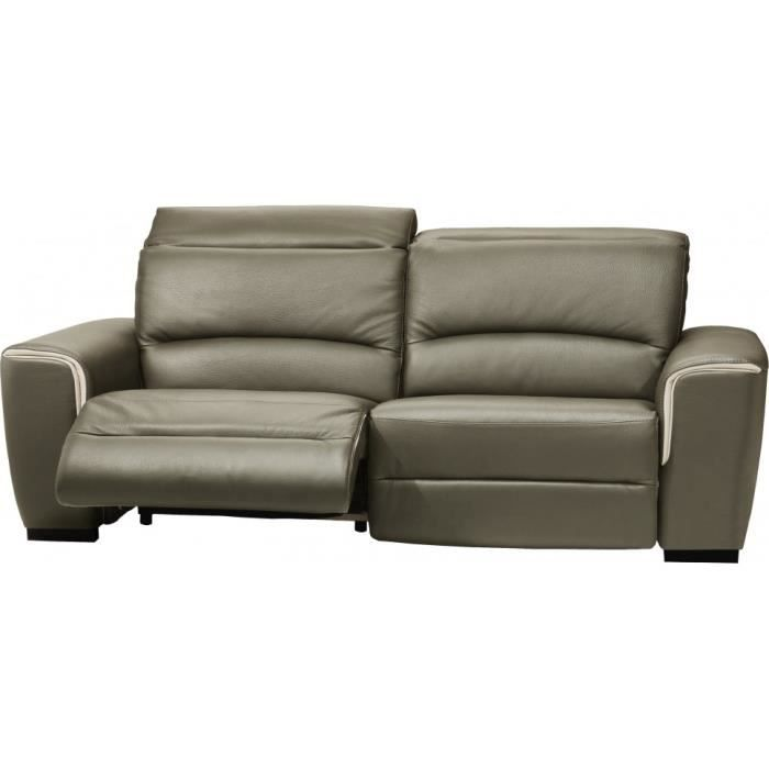 Canap cuir relax contemporain 2 places nils gris achat vente canap so - Canape relax cdiscount ...