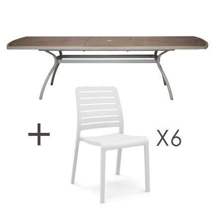 Ensemble table extensible en r sine renforc e pi tement alu laqu 210 265x1 - Table salon extensible ...