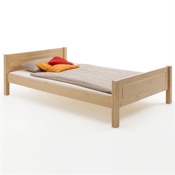lit en pin claudio 120 x 200 cm lasur couleur h tre achat vente structure de lit cdiscount. Black Bedroom Furniture Sets. Home Design Ideas