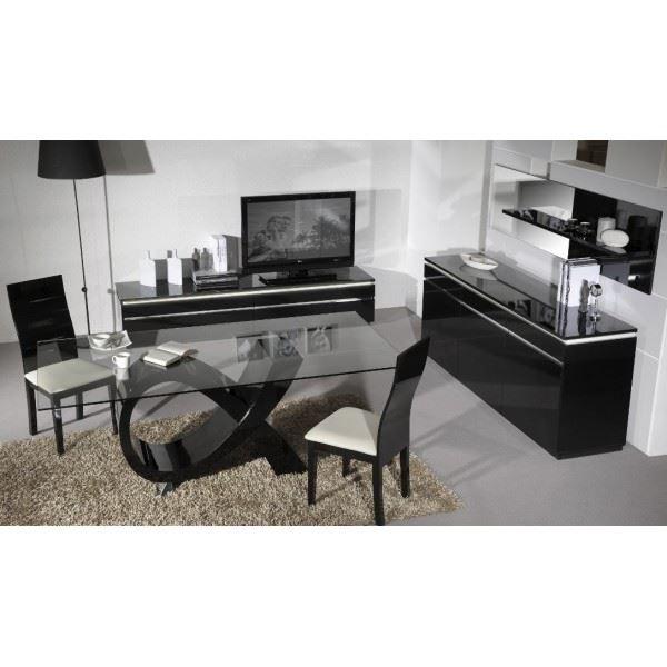Salle manger design glam noir laqu brillant achat vente salle mang - Cdiscount salle a manger ...