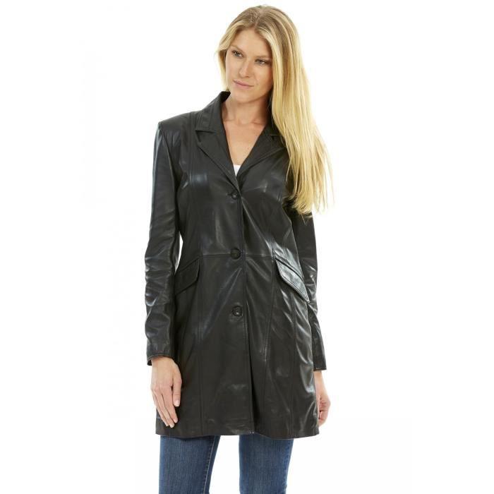 Veste noire inspirée de la coupe tailleur pour femme en cuir de ...