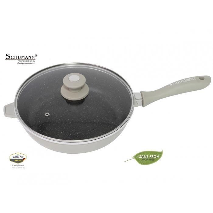 poele en pierre sauteuse 28 cm couvercle schumann marmite cocotte wok casserole ebay. Black Bedroom Furniture Sets. Home Design Ideas