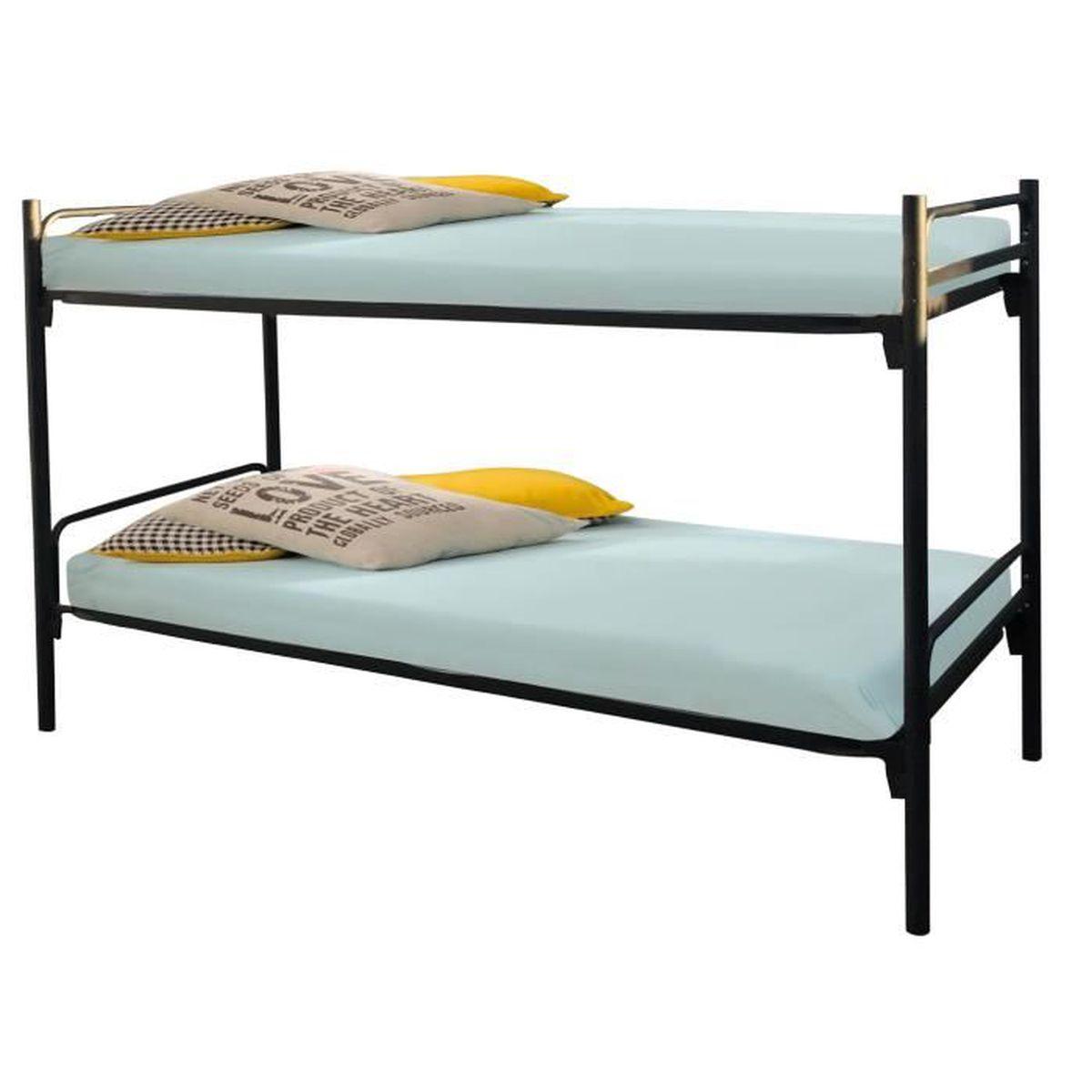 lit superpos 90x200 cm en m tal coloris noir noir achat vente lits superpos s lit superpos. Black Bedroom Furniture Sets. Home Design Ideas