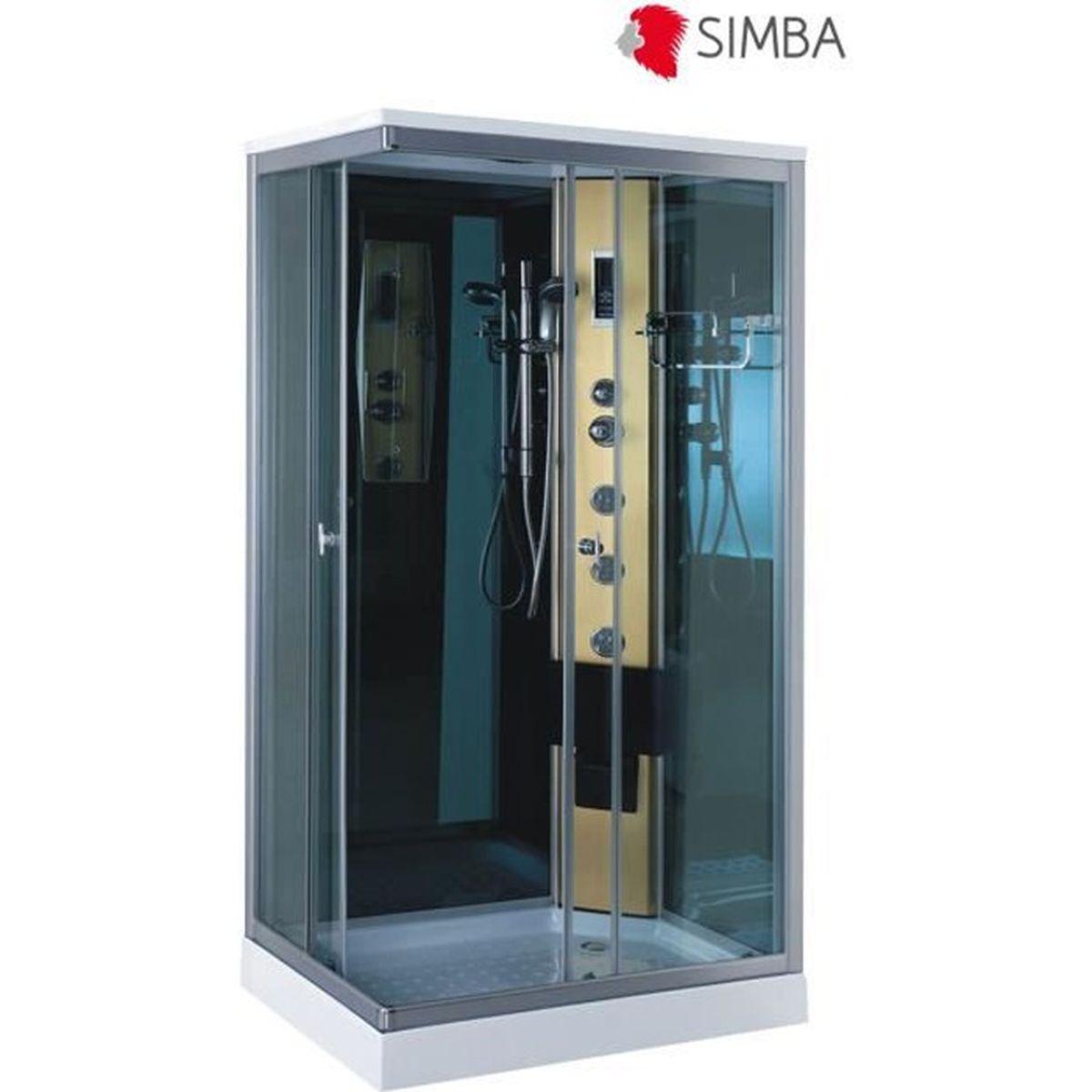 Cabine de douche hydromassante spa bain massage 100 x 70 cm verre 6 mm taormi - Cabine de douche integrale 70 x 100 ...