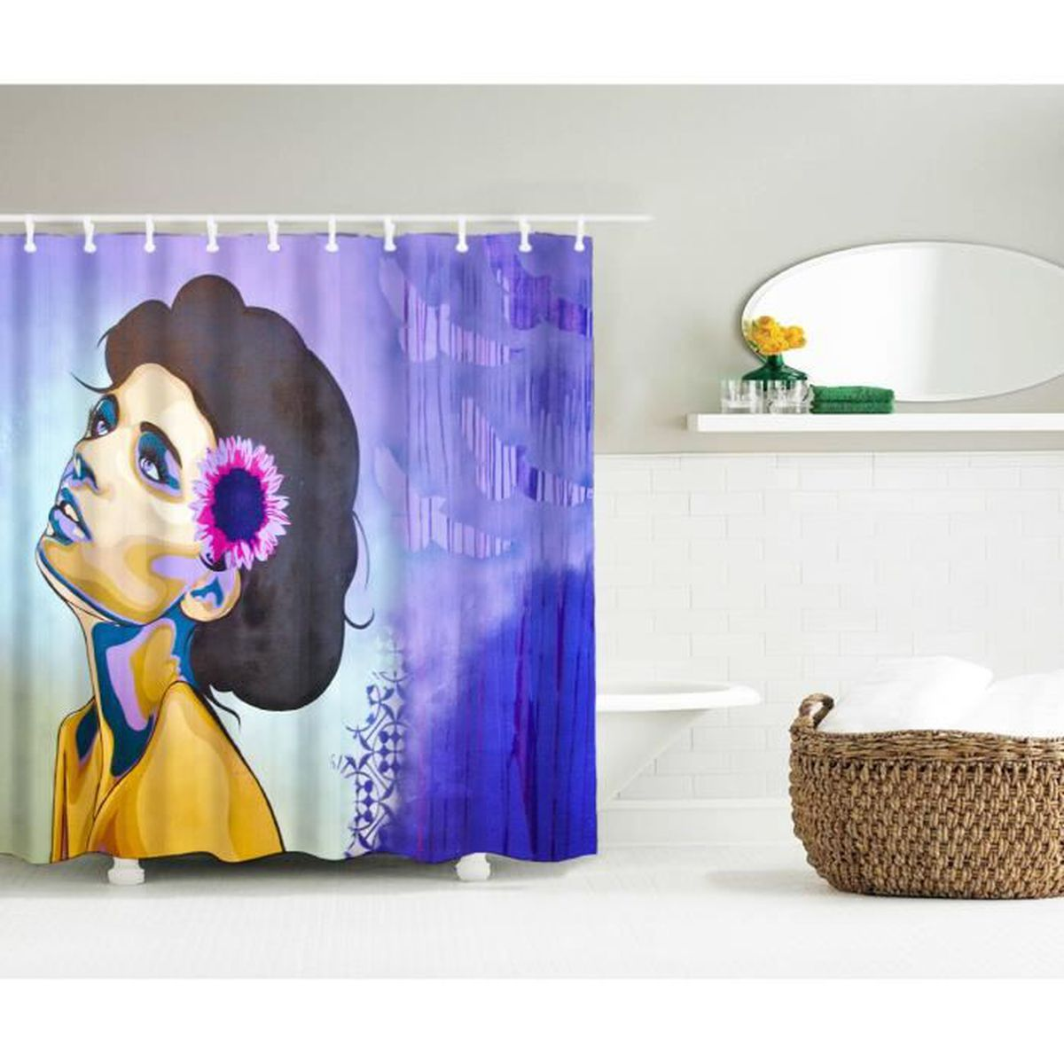 rideau de douche galet imperm able rideau de salle de bain etanche avec 12 anneaux crochets 180. Black Bedroom Furniture Sets. Home Design Ideas