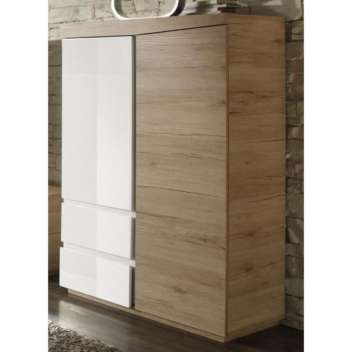 buffet haut couleur ch ne clair et laqu blanc moderne nesbo porte gauche achat vente. Black Bedroom Furniture Sets. Home Design Ideas