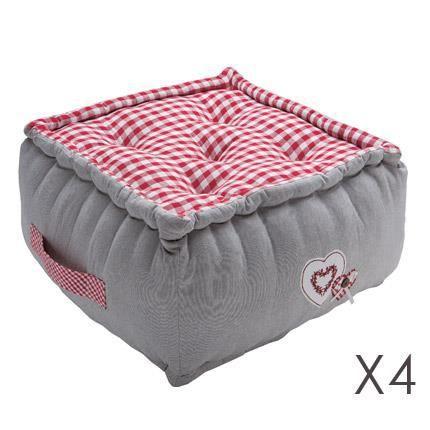 lot de 4 poufs 40x40x30 cocotte achat vente pouf. Black Bedroom Furniture Sets. Home Design Ideas