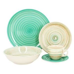 SERVICE COMPLET Service de table 20 pièces en grès Spirale Celadon