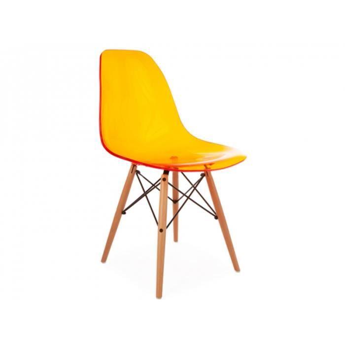 Chaise dsw orange transparent achat vente chaise for Dsw fauteuil