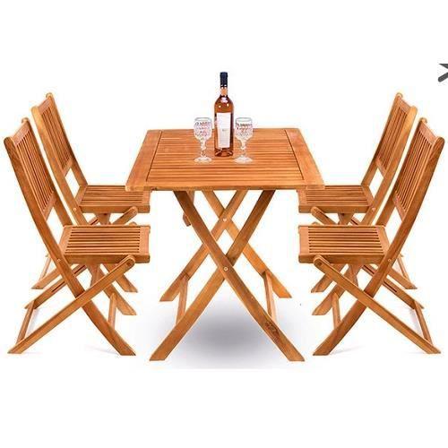Superbe table de jardin avec 4 chaises bois achat for Table et chaises de jardin soldes