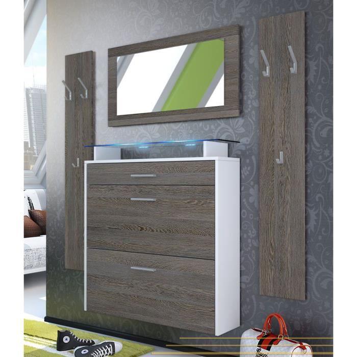 vestiaire blanc et bois weng 89 cm achat vente meuble. Black Bedroom Furniture Sets. Home Design Ideas
