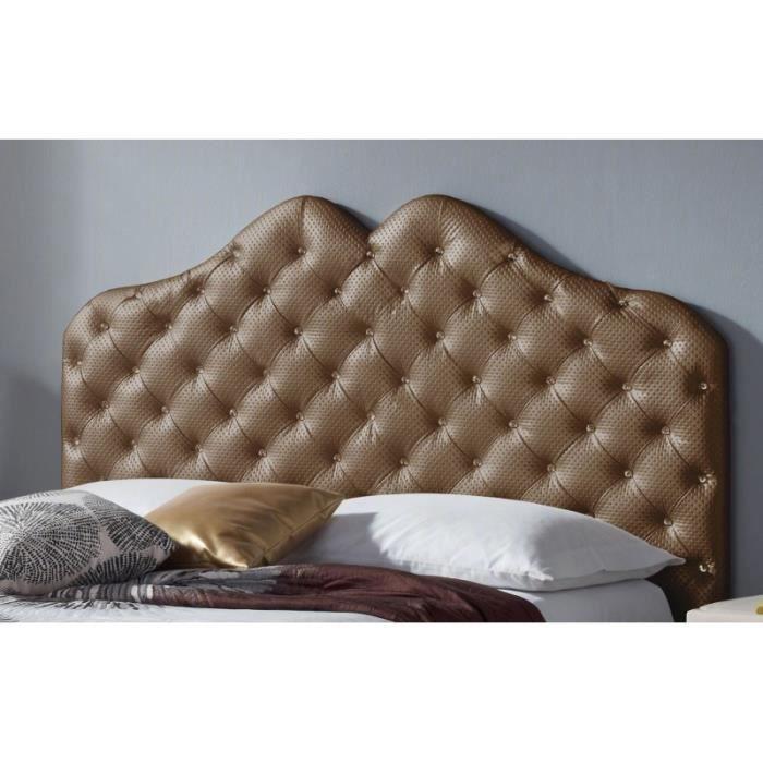 T te de lit pu luxe couleur bronze lux mesure lit de 140 cm de large achat vente t te for Tete de lit de luxe