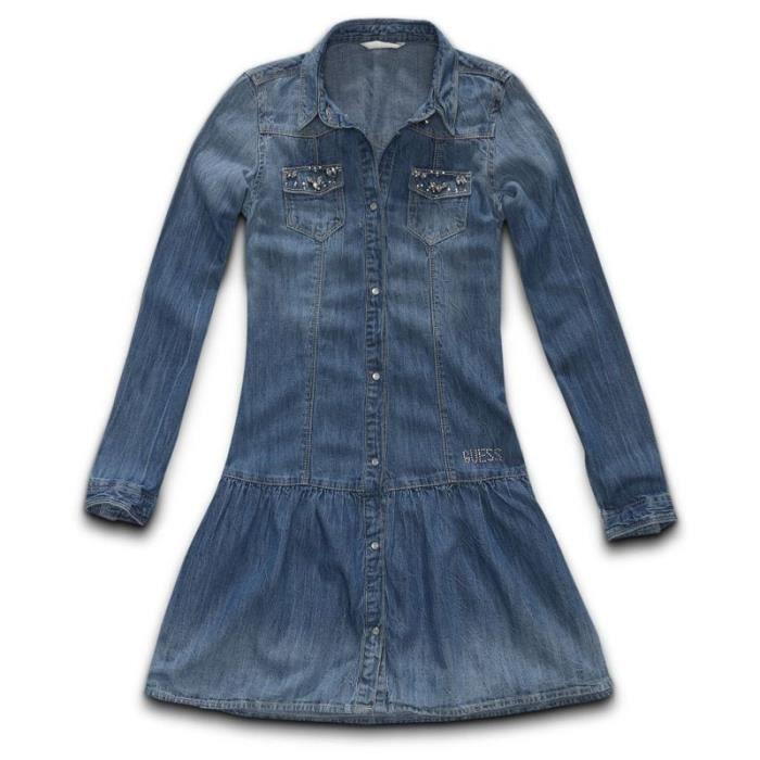 robe en jeans fille guess j51k72 amb achat vente robe. Black Bedroom Furniture Sets. Home Design Ideas